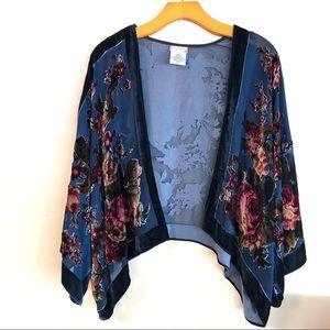 Free People Floral Burnout Velvet Short Kimono